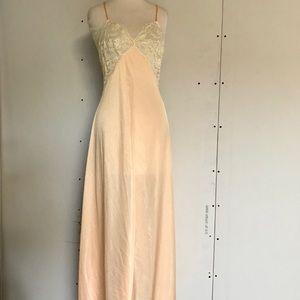 Vintage 70s sexy Glydons peach lace long nightie